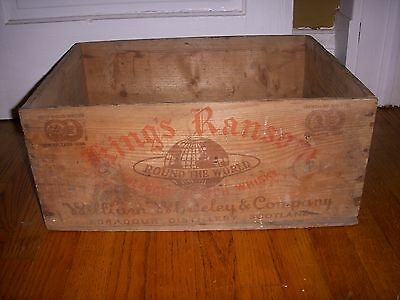Antique Kings Ransom Whisky Wood Wooden Shipping Crate Box Advertising