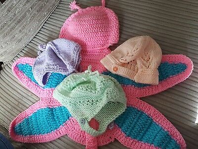 newborn/baby photography prop bundle, knitted hats, butterfly