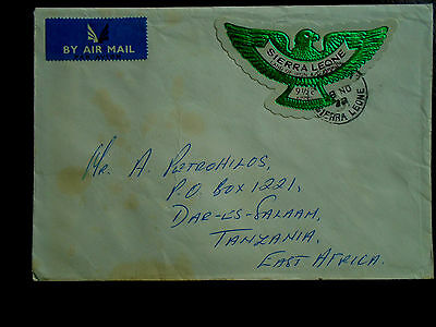 SIERRA LEONE 1972 Cover with 9 1/2 cent AIRMAIL STAMP (EAGLE) Die-cut Stamp.