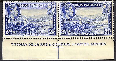 Montserrat 1938 2 1/2 d Perf 13 Pair SG105 Unmounted/Previously lightly hinged