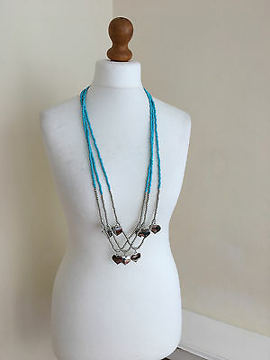 TURQUOISE Bead & Silver Heart Multi-Strand Long Necklace NEW