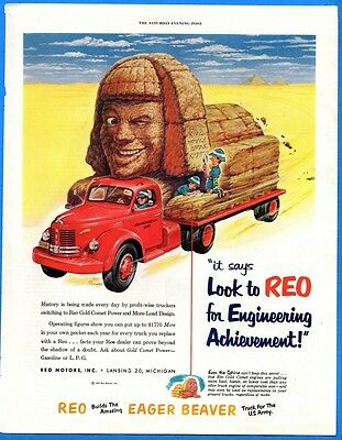 "Vintage 1952 Reo ""Eager Beaver Truck For the US Army"" Retro Color Print Ad"
