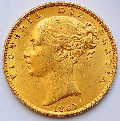 "CHOICE & LUSTROUS 1860 ""Large 0"" Victoria Young Head Gold Shield Sovereign"