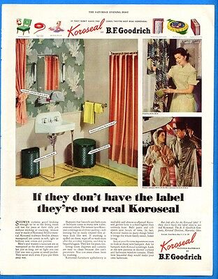 Vintage 1952 Koroseal Shower Curtains by BF Goodrich Retro Color Print Ad