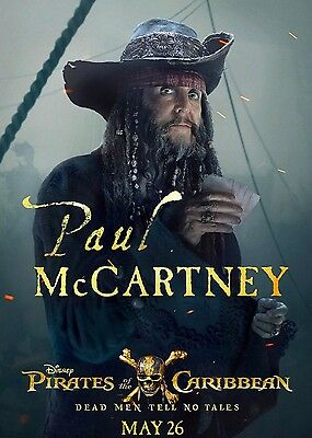PIRATES OF THE CARIBBEAN DEAD MEN TELL NO TALES PAUL McCARTNEY A6+A4+A3+FRAMED