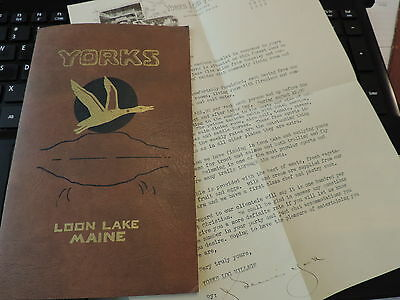 1936 Yorks Loon Lake Resort Camp Rangeley Maine with letter signed J. Lewis York