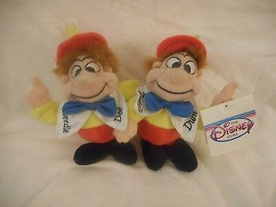 "Disney Store 8"" Plush Bean Bag PlushTweedle Dee and Tweedle Dum NEW WITH TAG"