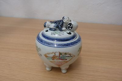 Very Nice Antique Meiji Period Japanese Hand Painted Porcelain Koro Burner.