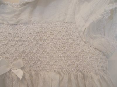 Baby Girl Next Ivory Silk Christening Gown 6-9 M  Smoked Front Peter Pan Collar