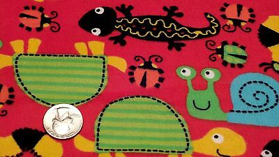 Fabric Snails Lizards and Bug on Red Flannel 3/4 yard S