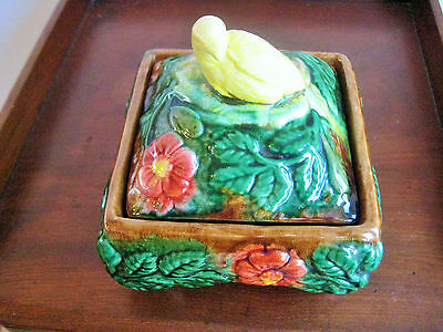 Antique/ Vintage Majolica Jewellery Or Trinket Box With Bird Finial