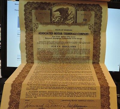 Associated Motor Terminals Company Stock Certificate 1930 to Thomas G. Donnell