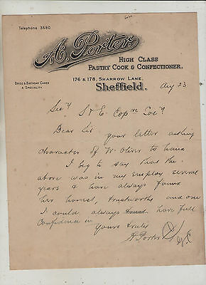Sheffield  Confectioners  Letter.
