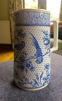 Unusual Vintage Blue And White Jug Featuring Exotic Birds