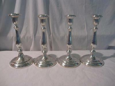 4 Antique GORHAM Sterling Silver Candlesticks Candle Holders Tall