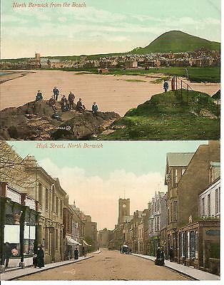 North Berwick , Pair Of Vintage Views , Hight Street And Beach