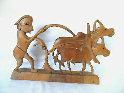 Vintage   Asian  ?    Craved Wood Figure With  Oxen    On  Stand
