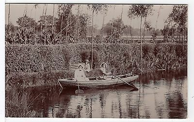 Two Ladies In A Boat On A Lake Old Real Photo Postcard