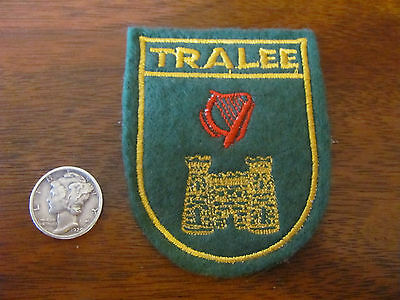 Vintage, Ireland, Irish, Tralee Coat of Arms, Travel Souvenir Patch