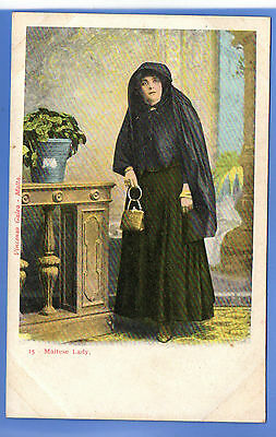 Old Vintage Postcard Maltese Woman Lady In Dark Clothes Holding Bag