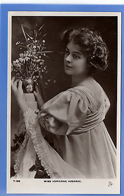 Old Vintage Tuck Rp Postcard Edwardian Actress Miss Adrienne Augarde