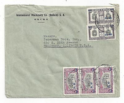 Bolivia 1958 Inflation Cover to US,Surcharge Mix
