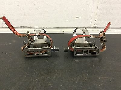 Vintage Bicycle, 1950's Chater Lea Pedals With GB Professionnel Toe Clips
