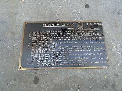 Vintage Coventry Climax Brass Plaque For Priming An F.p.type Engine/pump