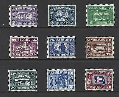 Iceland 1930 MNH Althing Officials, Scott 152 - 156, 158 - 161. SCV $132
