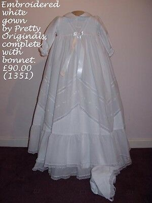 NEW! Stunning Pretty Originals classic white christening gown with bonnet, 6m