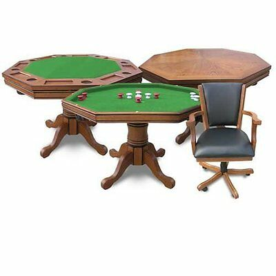 Dining Kingston Antique Dark Oak Felt Table Poker Chip Billiards Pool Game Card