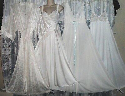 VTG 4 Bridal White OLGA Collection Peignoir Robe 3 Nightgown Negligee GOWNS 34 M