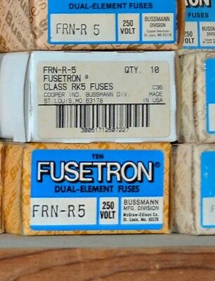 FRN-R-5 Amp FUSETRON Time Delay BUSSMANN Class RK5 Fuse NEW Lot of 8 250V