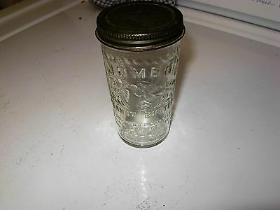 Vintage Antique Glass 5 Oz. Jumbo Peanut Butter Jar W/ Lid