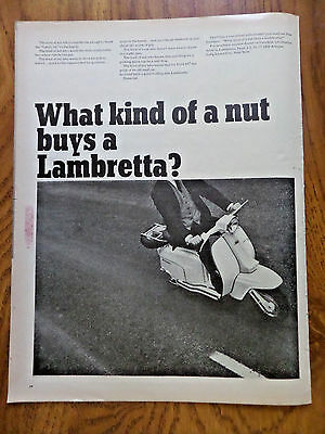 1965 Motorcycle Scooter Ad  What Kind of a Nut buys a Lambretta?
