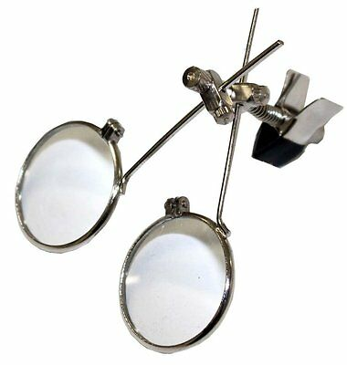 3.3X 6.6X 24mm Clip On Double Glass Lens Eyeglass Eye Loupe Magnifying Magnifier