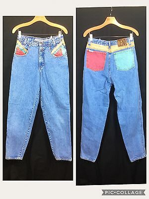 Vintage Zena Size 11 Denim MOM Jeans High Waist Tapered Leg Colorful Stonewashed