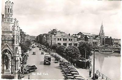 Cork, Ireland - The Mall, animated old bus, cars - Valentine RP postcard c.1950s