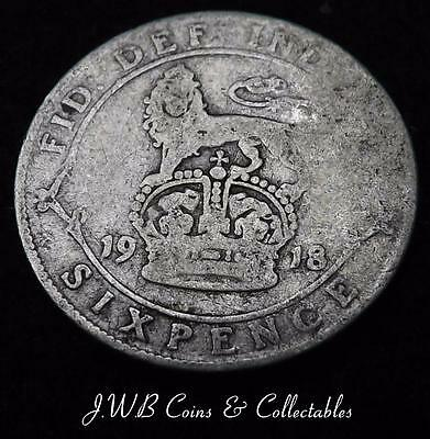1918 George V Silver Sixpence Coin - Great Britain