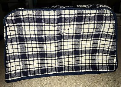 """Handmade blue & white checkered toaster cover - approximate dim 9"""" x 5 3/4"""" x 7"""""""