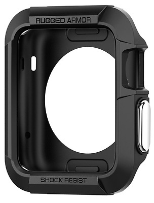 Apple Watch Case 42mm Case Impact Protection Rugged Armor Black + 2 Screen Prote