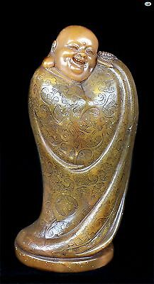 Scarce 1800s Antique Heavy Asian Chinese Buddha Hand Carved Shoushan Statue