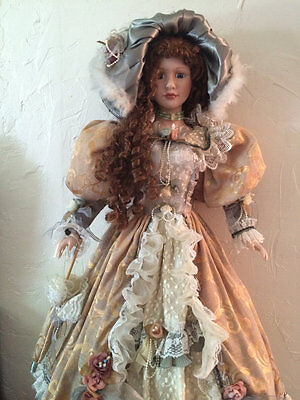 "36"" Beautiful Victorian Porcelain Doll Long Curly Brown Hair Cathay Collection"