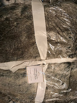 "Pottery Barn Grey Ombre Faux Fur Oversized Throw 60"" x 80"" NEW"