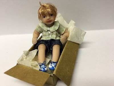 Miniature Boy Doll, Toddler,playing In A Box, OOAK, B Justice