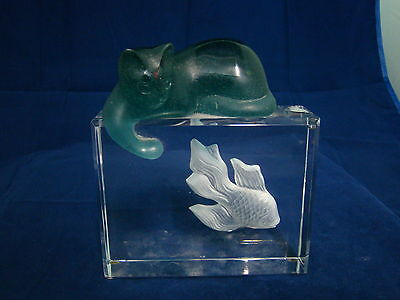 Beautiful Daum France Glass Cat and Fish Very Well Made