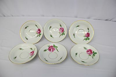 Gorgeous Set of 6 Hand-Painted German Meissen Saucers with Pink Rose Motif