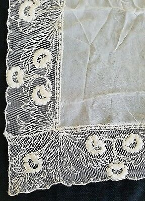 A3 Vintage Bridal Big Synthetic Blend Embroidered Lace Floral Flower Hanky