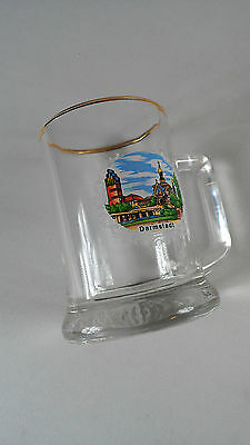 Darmstadt Germany Glass Mug Small Stein Beer City Collectible Gold Trim Cup