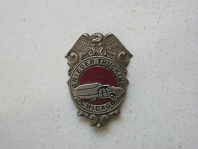 Grieger Trucking Obsolete Badge Chicago IL  1950s